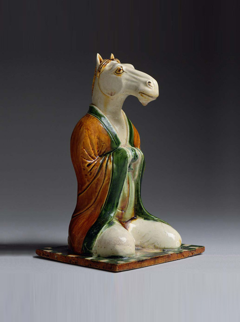 A Sancai-glazed Earthenware Zodiac figure of a Horse