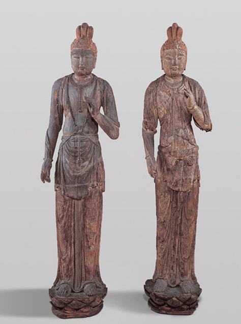 View Pair of wood figures of standing Bodhisattvas