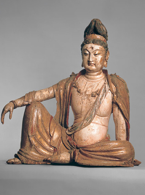View Wood figure of a seated Bodhisattva