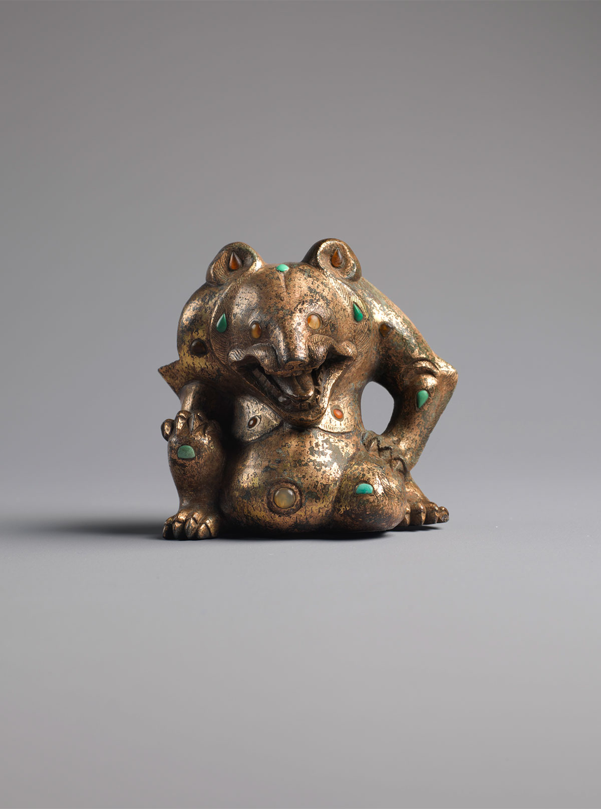 Gilt-bronze, Agate and Turquoise Bear