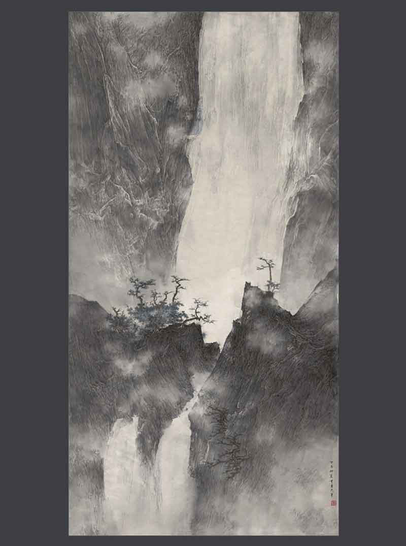 Waterfalls, rocks and bamboo by Li Huayi