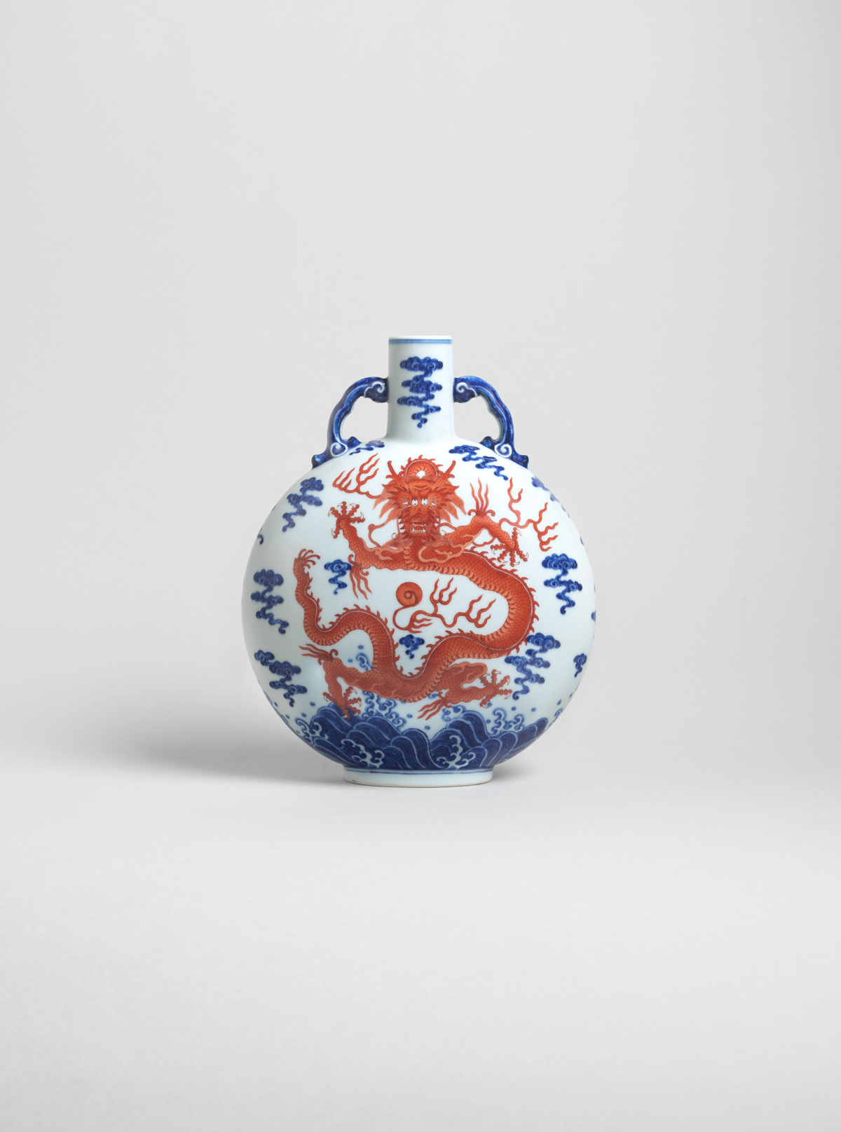 Underglaze Blue and Iron-red Porcelain Flask