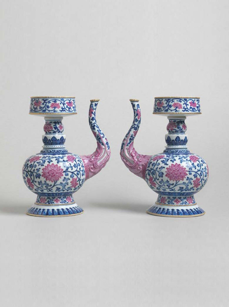 Pair of Underglaze Blue and Pink-enamelled Porcelain Ewers