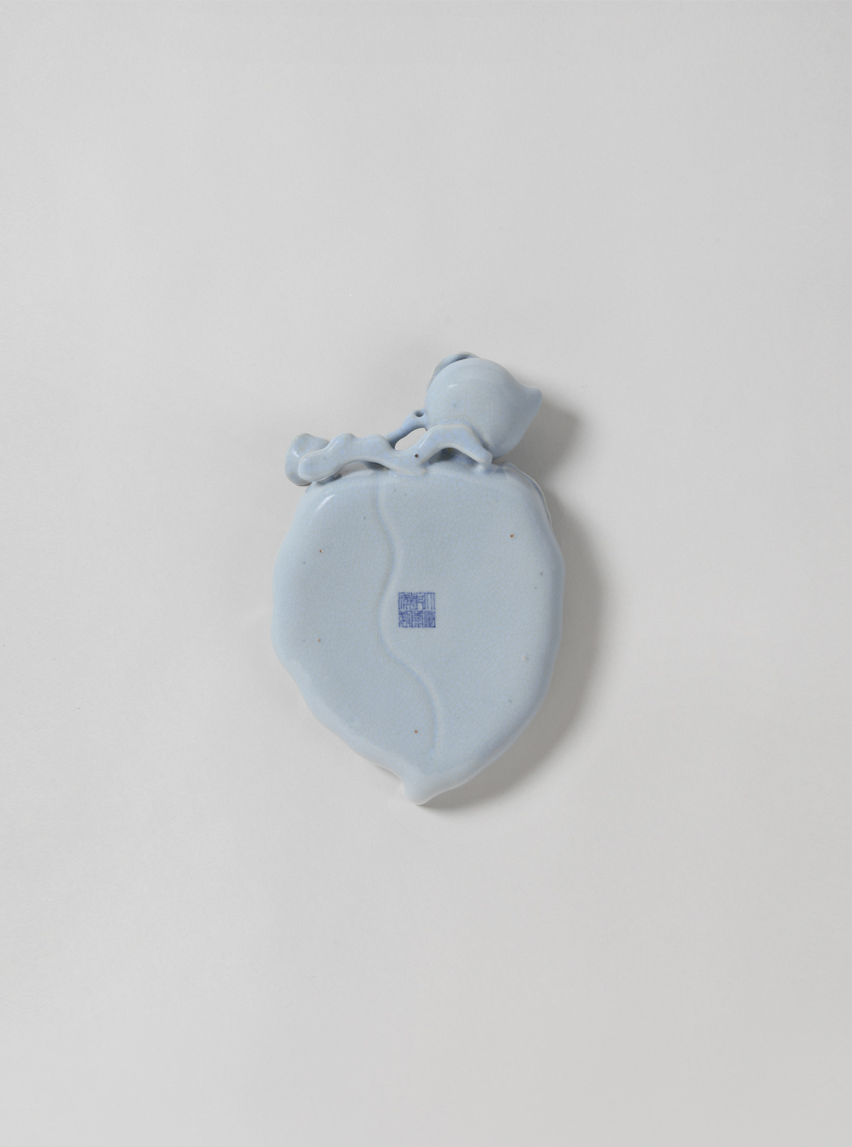 Bluish-grey Monochrome Peach-shaped Porcelain Brush Washer