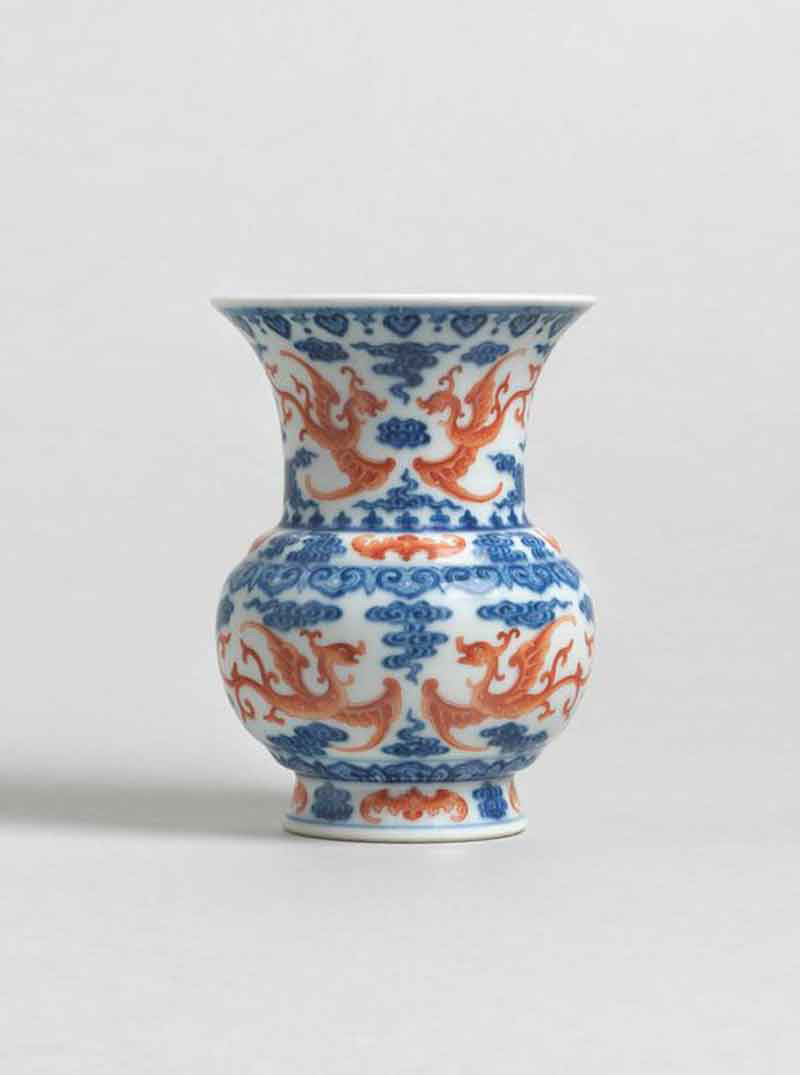 Underglaze Blue and Iron-red Porcelain Vase