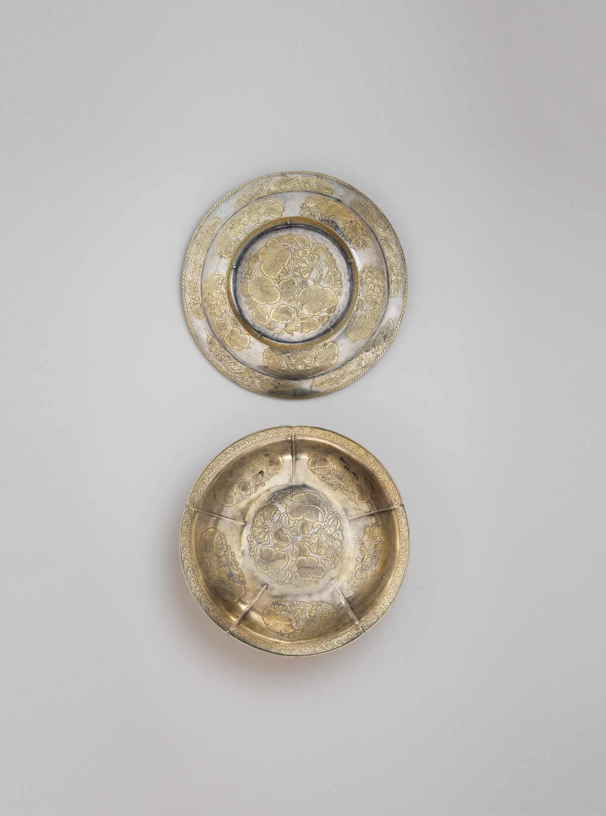 Gilt silver bowl and cover
