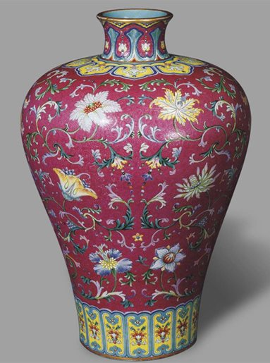 A magnificent and highly important ruby-ground famille-rose porcelain vase