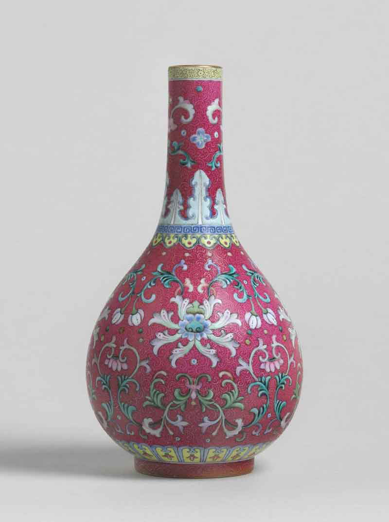 Famille Rose Ruby Ground Porcelain Vase