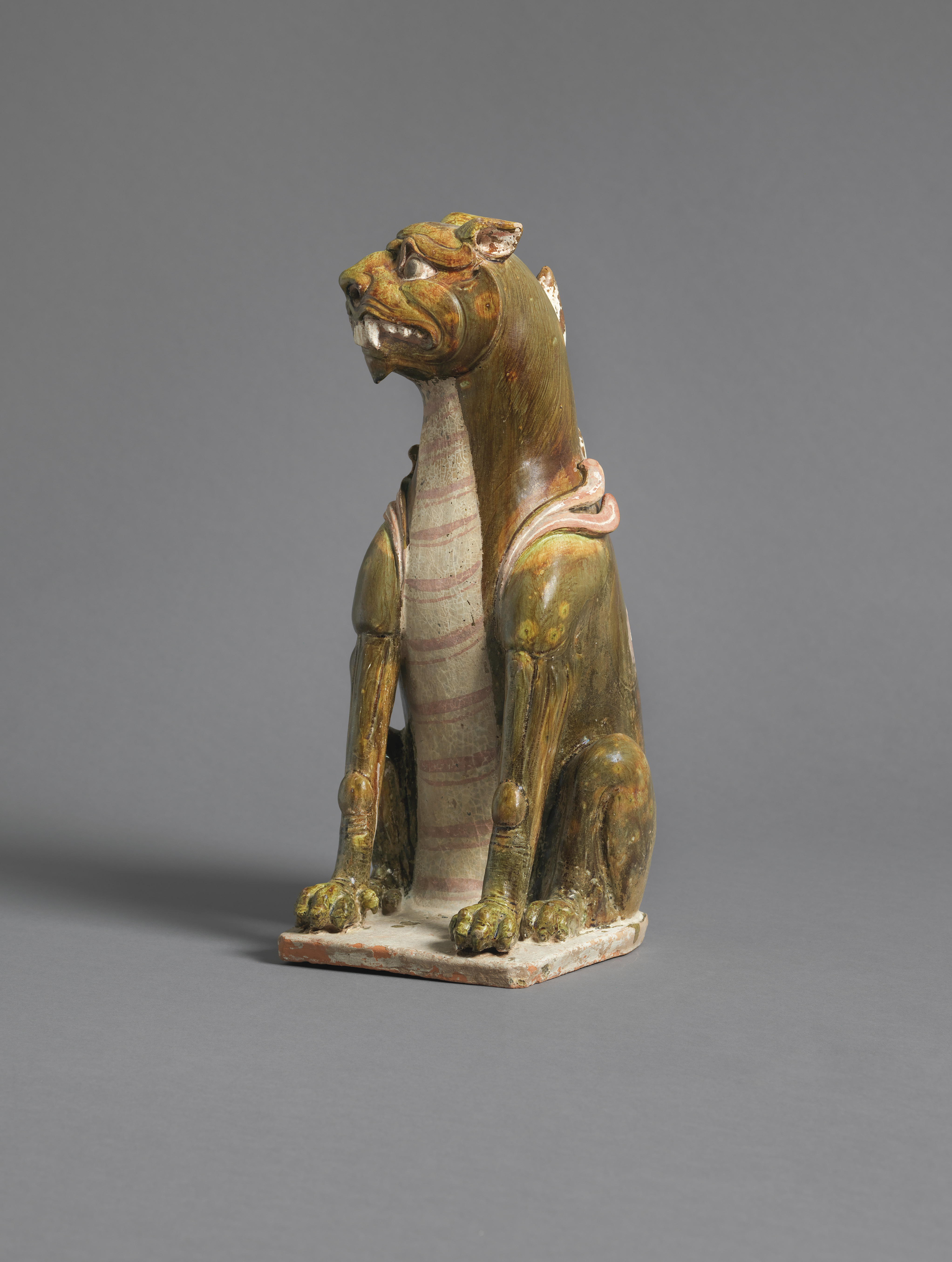 Painted and Glazed Earthenware Guardian Animal