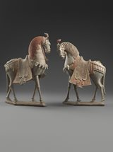 View Two Painted Earthenware Caparisoned Horses