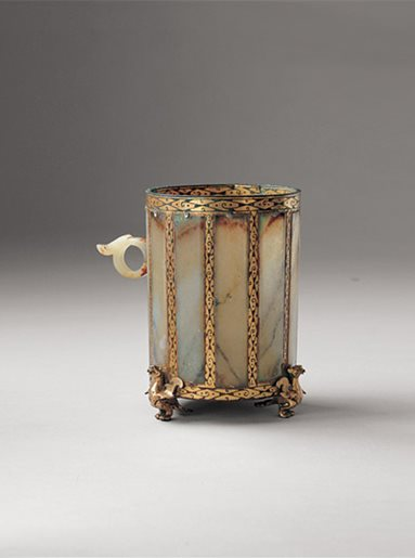 Bronze, gold and jade cup
