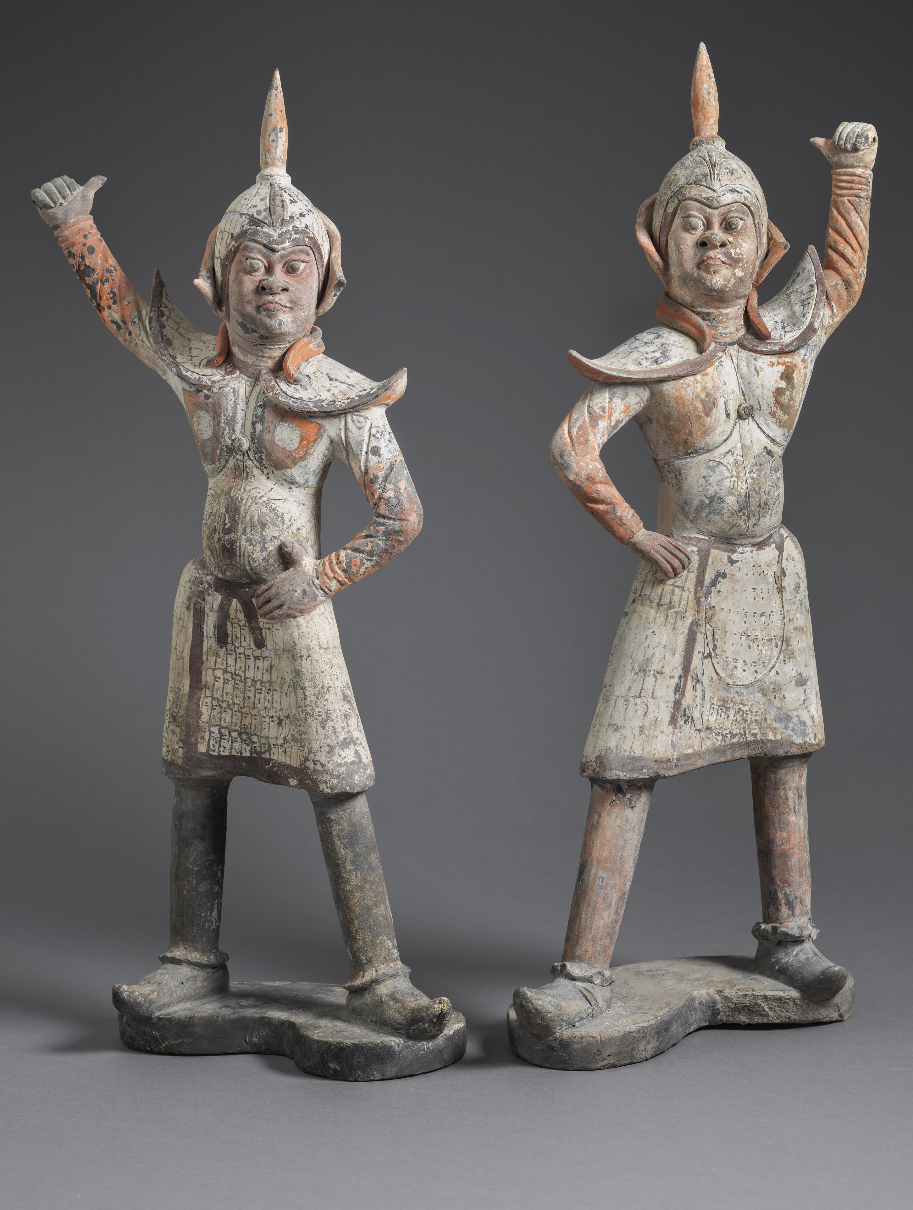 Painted Grey Earthenware Guardians