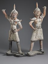 View Painted Grey Earthenware Guardians