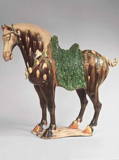 Glazed earthenware horse