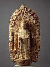 View Marble Stele with a Central Figure of Buddha Sākyamuni